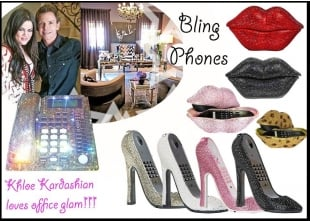 Khloe Kardashian Loves Office Sparkle and Glam | Crystal Landline phones | Beauty salon and Boutique