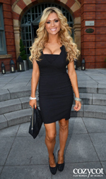 Nicola McLean at Craig Doyle show with black sparkly shoes
