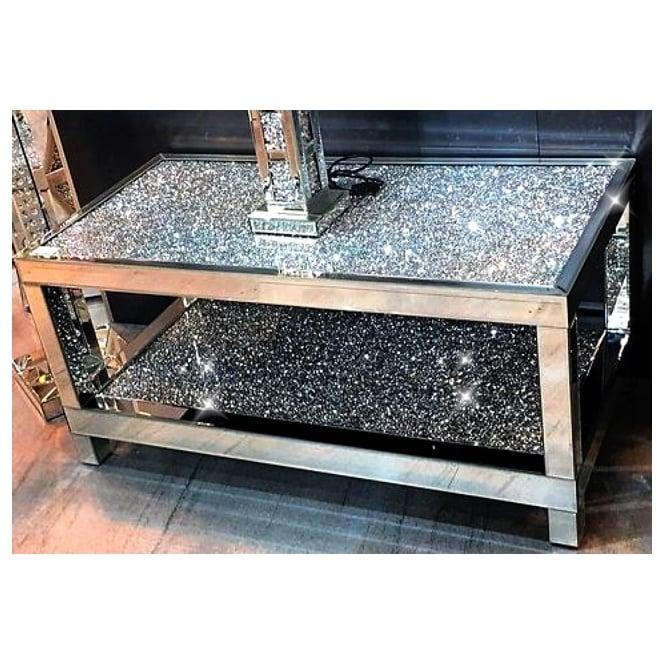 Crushed Diamond Mirrored Coffee Table: Crushed Diamonds Double Tier Coffee Table