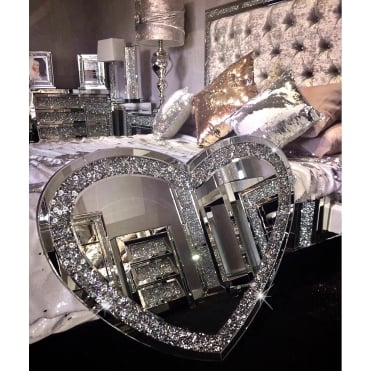 Crushed Diamonds Heart Mirror