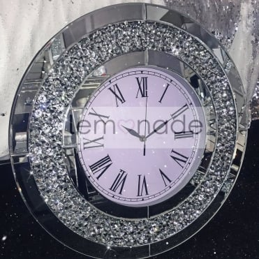 Crushed Diamonds Round Clock