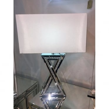 Crushed Ice Criss Cross Table Lamp