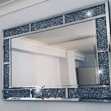 Crushed Ice Rectangle Wide Bar Mirror