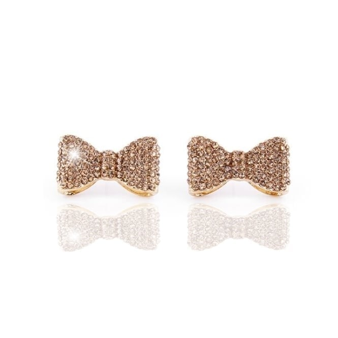 Crystal Classic Bow Earrings Gold