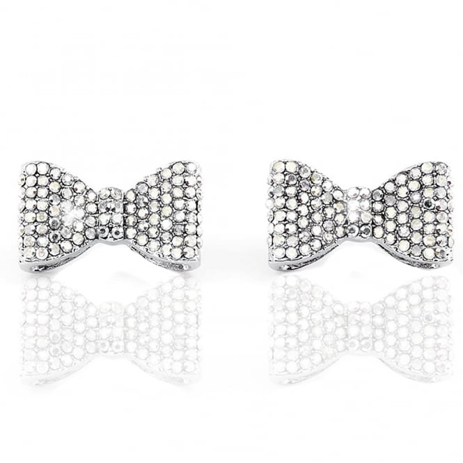Crystal Classic Bow Earrings Silver