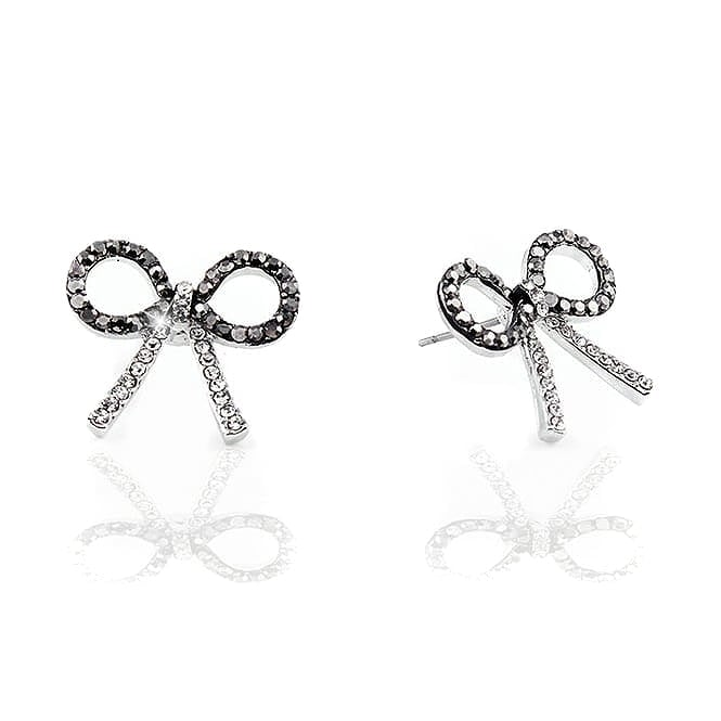 Crystal Delicate Bow Stud Earrings Grey/Silver