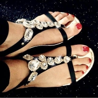 Crystal Diva Flip Flops Black **SIZE 3 ONLY**