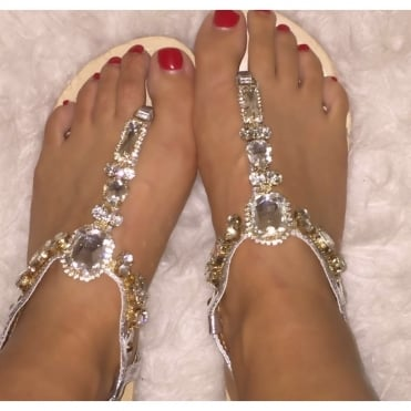 Crystal Diva Star Sandals Silver - Size 3 only