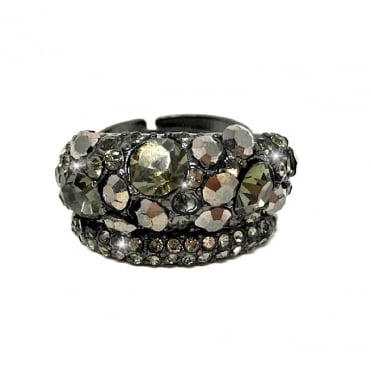 Crystal Double Row Vintage Ring Grey