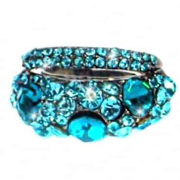 Crystal Double Row Vintage Ring Turquoise