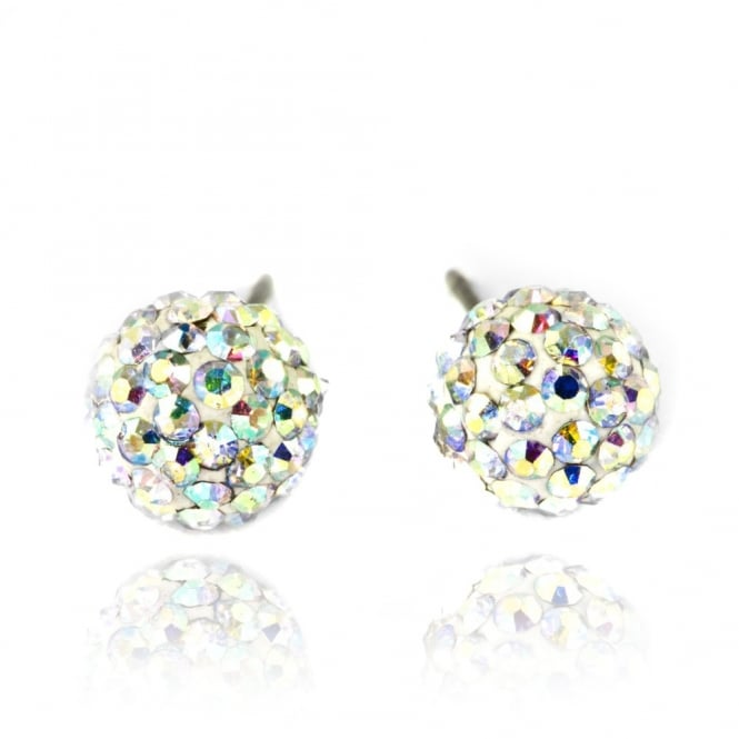 Crystal Fizzball Earrings Rainbow