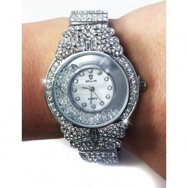 Crystal Floating Diamonds Bow Watch