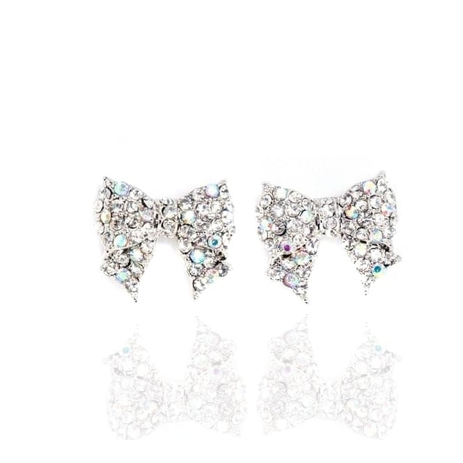 Crystal Glamour Bow Earrings Silver