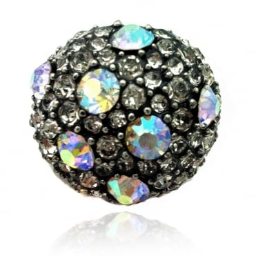 Crystal Glamour Dots Round Ring Rainbow