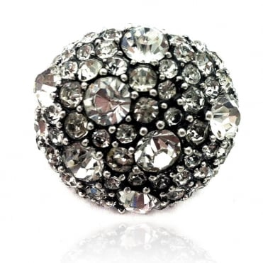 Crystal Glamour Dots Round Ring Silver