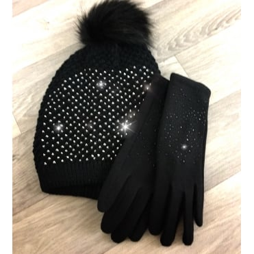 Crystal Gloves and Beanie Hat Black