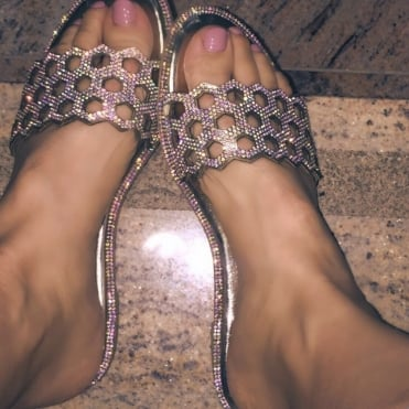 Crystal Honeycomb Sandals Champagne