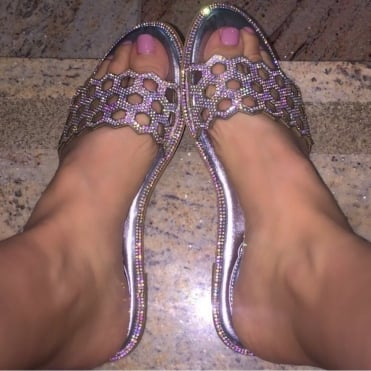Crystal Honeycomb Sandals Silver