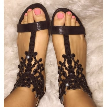 Crystal Ivy Sandals Black **SIZE 3 & 4 ONLY**