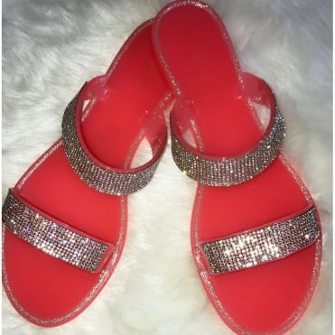 c42d29936016 Crystal Jelly Double Sliders Coral    SIZE 3 ONLY