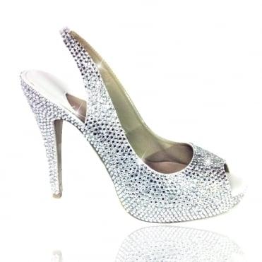 ef9e23690938a Crystal Low Heel Peep Toe Shoes Silver