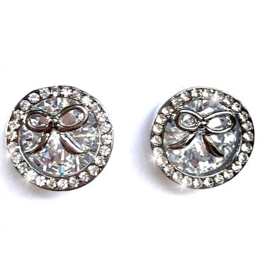 Crystal Magic Ribbon Stud Earrings Silver