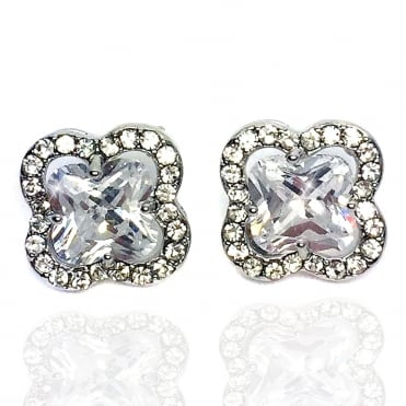 Crystal Majestic Stud Earrings Silver