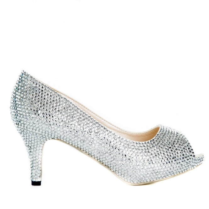 ddfe5ecb23a20 Crystal Silver Peep Toe Shoes | Lemonade Shoes