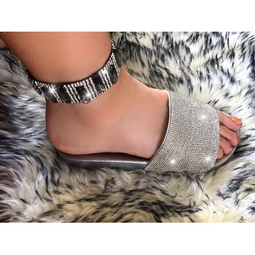 Crystal Nugget Black Diamond Ankle Bracelet