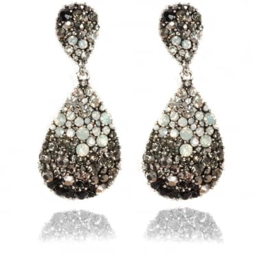 Crystal Oval shaped Earrings Grey