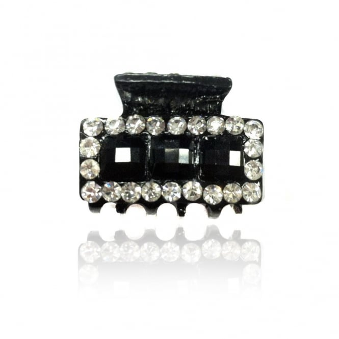 Crystal Rectangular Small Hair Clip Silver and Black