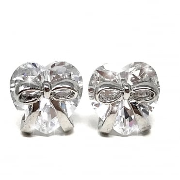 Crystal Ribbon Heart Dazzling Earrings