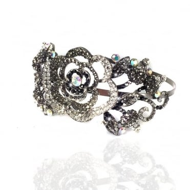 Crystal Side Rose Tiarra Black Diamond