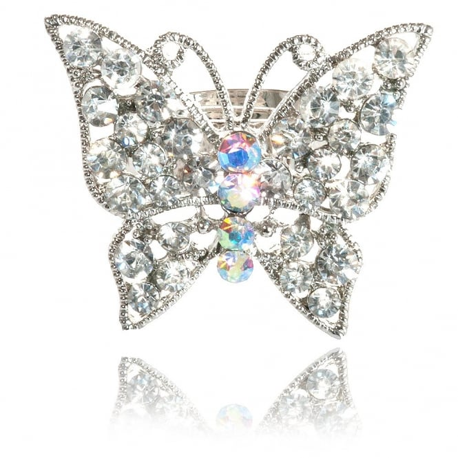 Crystal Small Butterfly Ring Silver