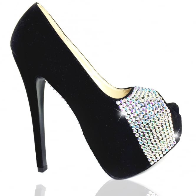 Crystal Sparkly Dazzling Sole and Front Peep Toe Shoes Rainbow