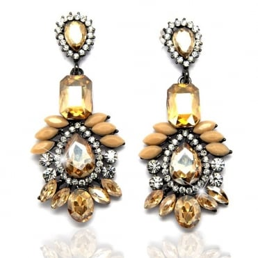 Crystal Sparkly Gold Lady Dangle Dazzling Earrings