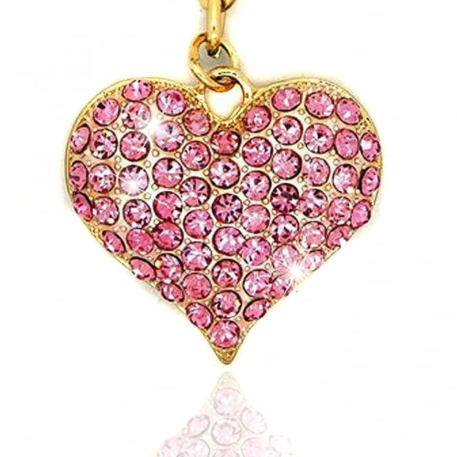 Crystal Sparkly Love Heart Keyring / Bag Charm Baby Pink