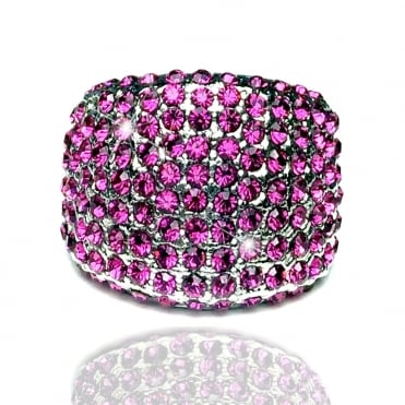 Crystal Sparkly Round Ring Hot Pink