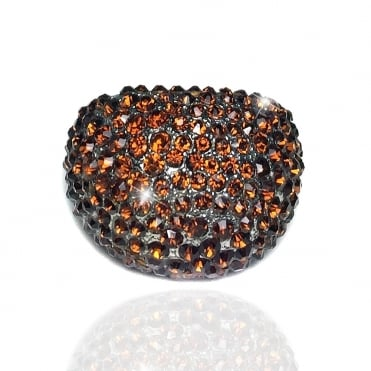Crystal Sparkly Smooth Round Ring Dazzling bronze