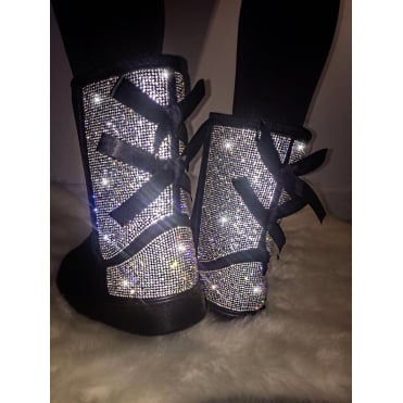 Crystal Sparkly Ugg Style Boots Silver and Black