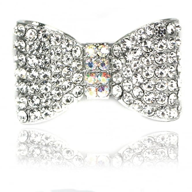 Crystal Stretchy Classic Bow Ring Silver