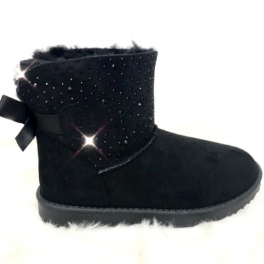 Crystal Trim Fur Lined Boots Black