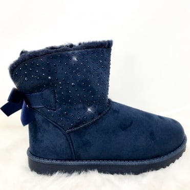 Crystal Trim Fur Lined Boots Navy