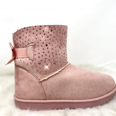 Crystal Trim Fur Lined Boots Pink