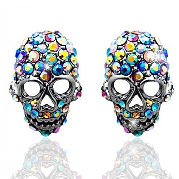 Crystal Skull Earrings Skull Silver Earrings Lemonade