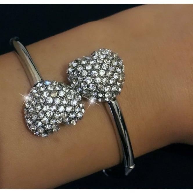 Crystal Valentines DOUBLE LOVE Bangle Silver