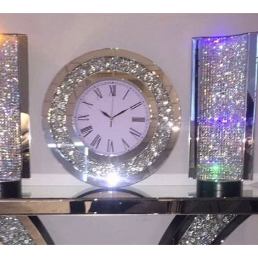 EX DISPLAY - Crushed Diamonds Round Clock