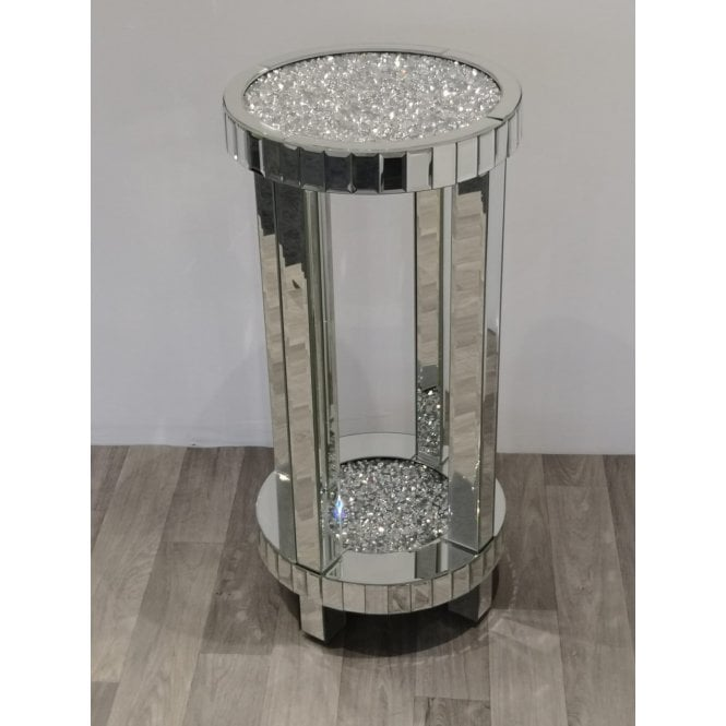 EX DISPLAY - Crushed Diamonds Round Telephone Table