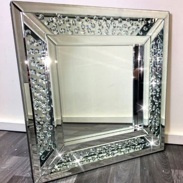 Ex Display Floating Diamond Square Mirror