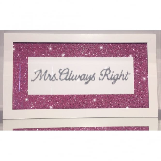 Glitter Pic - Mrs Always Right Hot Pink